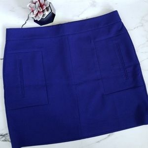 🆕 Ann Taylor Loft Blue Pocket Shift Mini Skirt 12